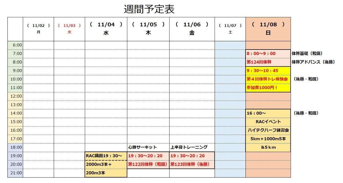 RAC「オンライン体幹トレーニング」11/2~11/8