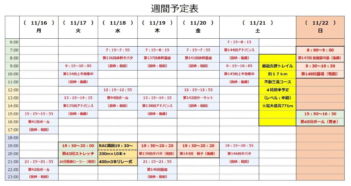 RAC「オンライン体幹トレーニング」11/16~