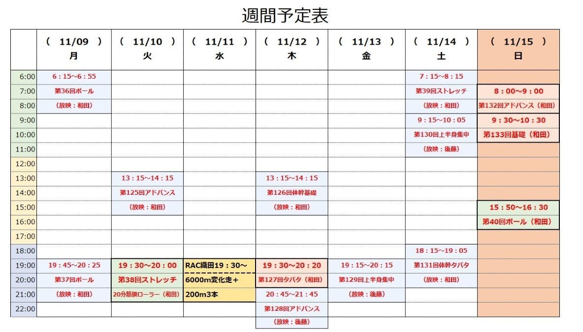 RAC「オンライン体幹トレーニング」11/9~11/15